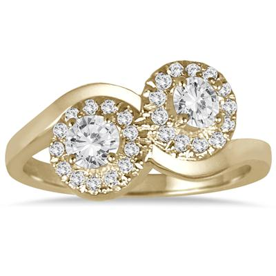 3/4 Carat TW Two Stone Halo Diamond Ring in 10K Yellow Gold
