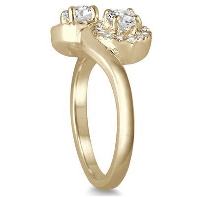 3/4 Carat TW Two Stone Halo Diamond Ring in 10K Yellow Gold