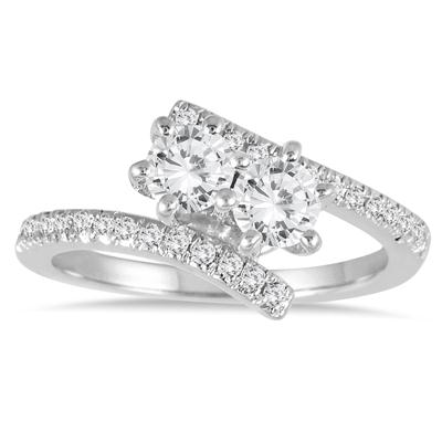 1 Carat TW Two Stone Diamond Ring in 10K White Gold