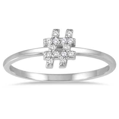 Stackable Diamond Hashtag Ring in 14k White Gold Ring