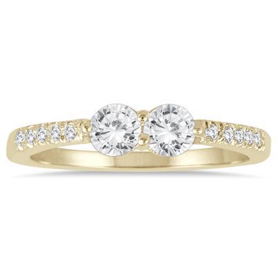 5/8 Carat TW Two Stone Diamond Ring in 14K Yellow Gold