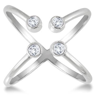 1/5 Carat TW Diamond Open X Ring in 14K White Gold