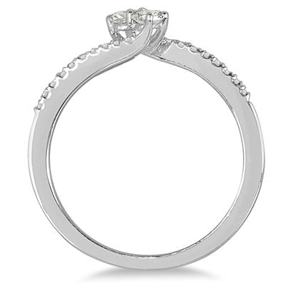 1/4 Carat TW Two Stone Diamond Ring in 10K White Gold (K-L Color, I2-I3 Clarity)