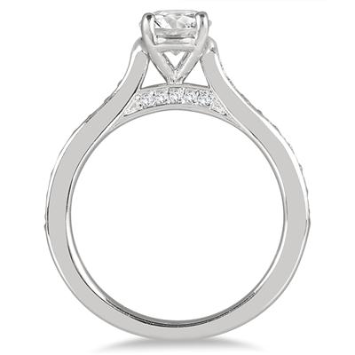 1 Carat TW AGS Certified Diamond Engagement Ring in 14K White Gold (J-K Color, I2-I3 Clarity)