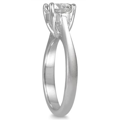 AGS Certified 1 1/2 Carat Diamond Solitaire Ring in 14K White Gold