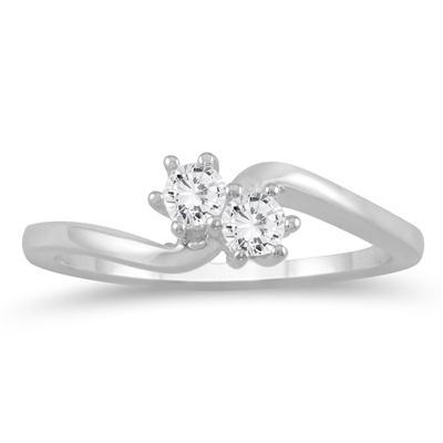 1/4 Carat TW Two Stone Diamond Ring in 10K White Gold
