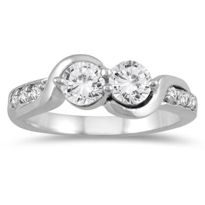 7/8 Carat TW Two Stone Diamond Ring in 14K White Gold