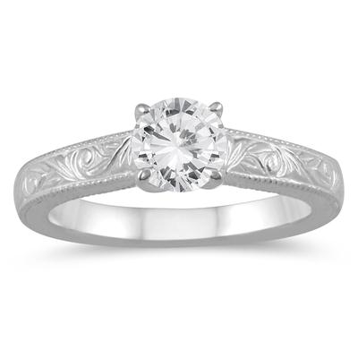 1/2 Carat Diamond Solitaire Engraved Engagement Ring in 10K White Gold