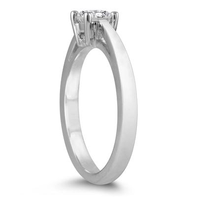 1/2 Carat Classic Diamond Solitaire Ring in 10K White Gold