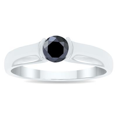 1/2 Carat Half Bezel Black Diamond Solitaire Ring in 10K White Gold