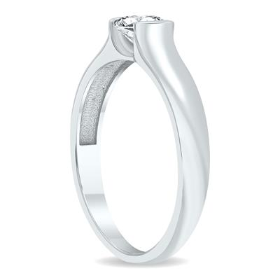 1/2 Carat Half Bezel Diamond Solitaire Ring in 10K White Gold