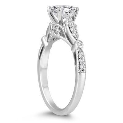 AGS Certified 1 1/10 Carat TW Diamond Engagement Ring in 14K White Gold (I-J Color, I2-I3 Clarity)