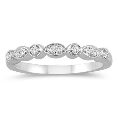 1/10 Carat TW Stackable Diamond Ring 10K White Gold