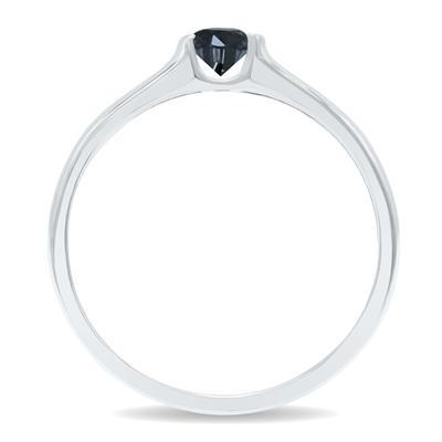 1/4 Carat Half Bezel Black Diamond Solitaire Ring in 10K White Gold