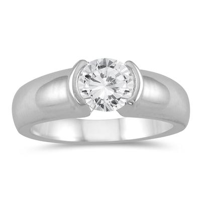AGS Certified 3/4 Carat Half Bezel Diamond Solitaire Ring in 14K White Gold (J-K Color, I2-I3 Clarity)