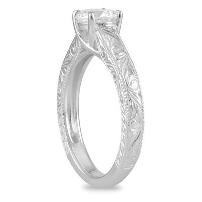 AGS Certified 3/4 Carat Engraved Diamond Solitaire Ring in 14K White Gold (J-K Color, I2-I3 Clarity)