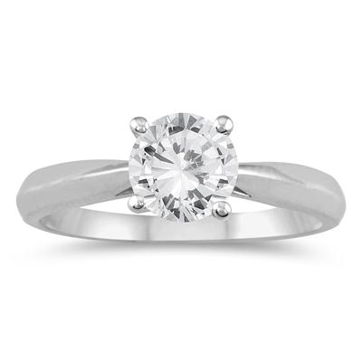AGS Certified 3/4 Carat TW Round Diamond Solitaire Ring in 14K White Gold (I-J Color, I2-I3 Clarity)