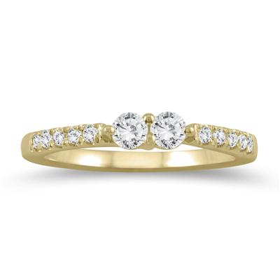 3/8 Carat TW Two Stone Diamond Ring in 10K Yellow Gold