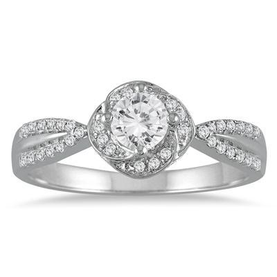 5/8 Carat TW Diamond Halo Engagement Ring in 10K White Gold