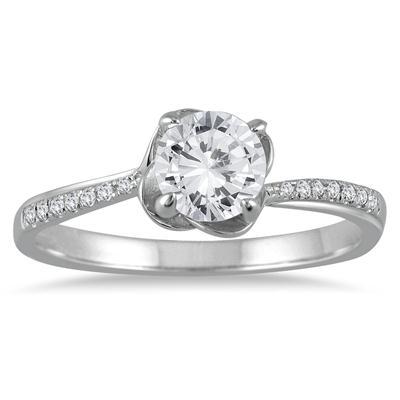 1/2 Carat TW Lotus Diamond Engagement Ring in 10K White Gold