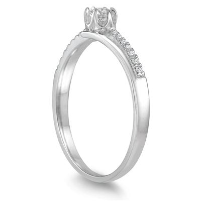 1/6 Carat TW Diamond Engagement Ring in 10K White Gold