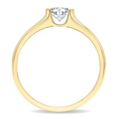 1/2 Carat Half Bezel Diamond Solitaire Ring in 10K Yellow Gold