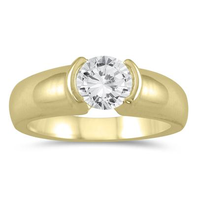 AGS Certified 3/4 Carat Half Bezel Diamond Solitaire Ring in 14K Yellow Gold (H-I Color, I1-I2 Clarity)