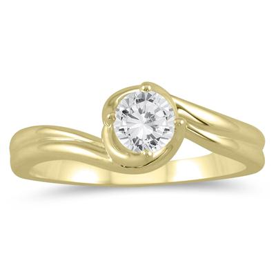 1/2 Carat Twisting Wave Diamond Solitaire Ring in 10K Yellow Gold