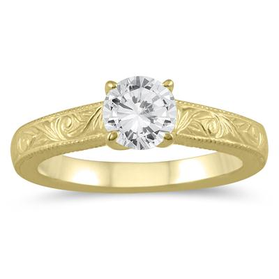 AGS Certified 3/4 Carat Engraved Diamond Solitaire Ring in 14K Yellow Gold (J-K Color, I2-I3 Clarity)