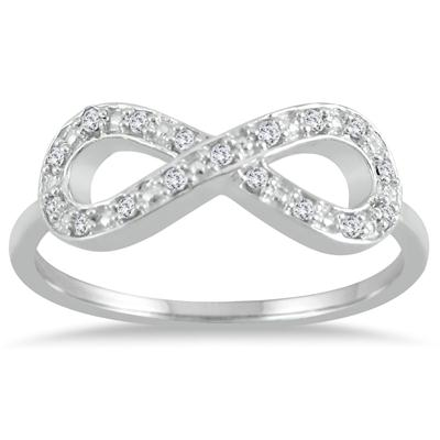 1/10 Carat Diamond Infinity Ring in .925 Sterling Silver