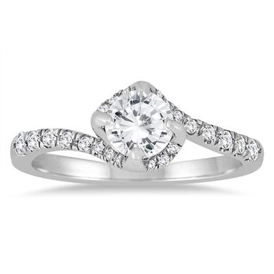1 Carat TW Diamond Halo Engagement Ring in 14K White Gold (J-K Color, I2-I3 Clarity)
