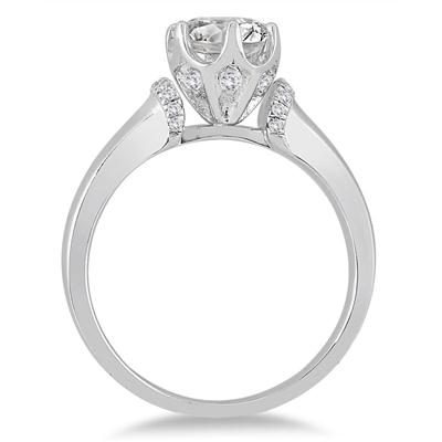 AGS Certified 1 1/8 Carat TW Diamond Engagement Ring in 14K White Gold (I-J Color, I2-I3 Clarity)