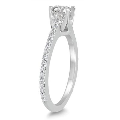 3/4 Carat Diamond Engagement Ring in 10K White Gold