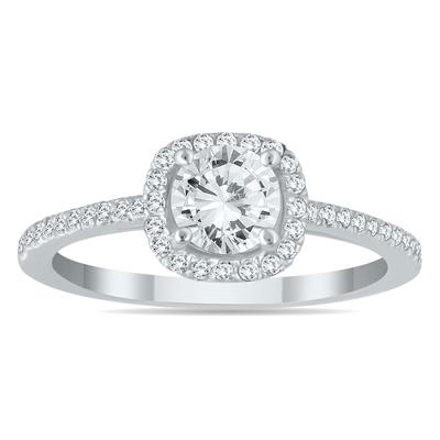 AGS Certified 7/8 Carat Halo Diamond Engagement Ring in 14K White Gold (I-J Color, I2-I3 Clarity)