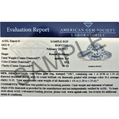 AGS Certified 7/8 Carat Halo Diamond Engagement Ring in 14K White Gold (J-K Color, I2-I3 Clarity)