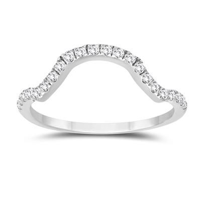 1/4 Carat TW Curved Diamond Wedding Band in 10K White Gold