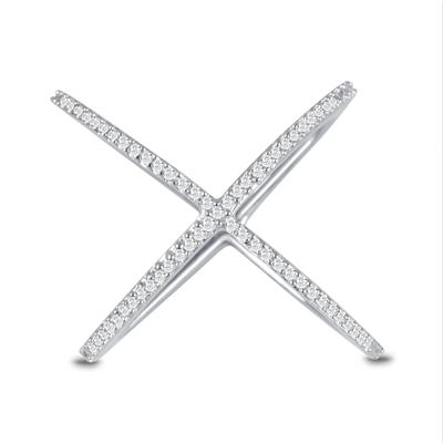 1/4 Carat TW Diamond X-Ring in 10K White Gold
