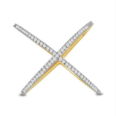 1/4 Carat TW Diamond X-Ring in 10K Yellow Gold