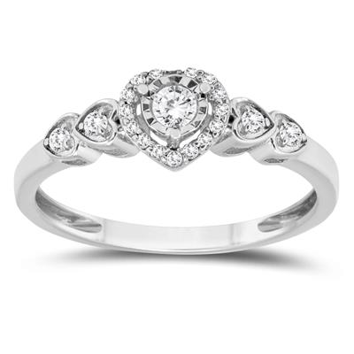 1/5 Carat TW Diamond Engagement Promise Ring in 10K White Gold