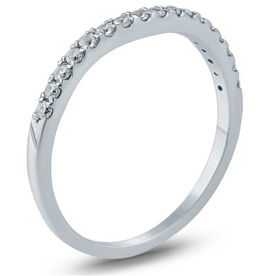 1/5 Carat TW Curved Diamond Wedding Band in 10K White Gold