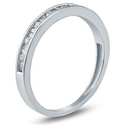 1/4 Carat TW Baguette and Round Diamond Wedding Band in 10K White Gold