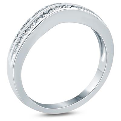1/4 Carat TW Double Row Diamond Wedding Band in 10K White Gold