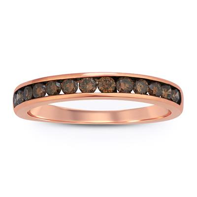 1/2 Carat TW Brown Diamond Band in 10K Rose  Gold