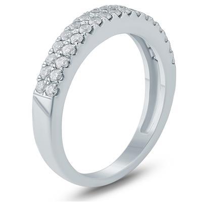 1/2 Carat TW Double Row Diamond Wedding Band in 10K White Gold