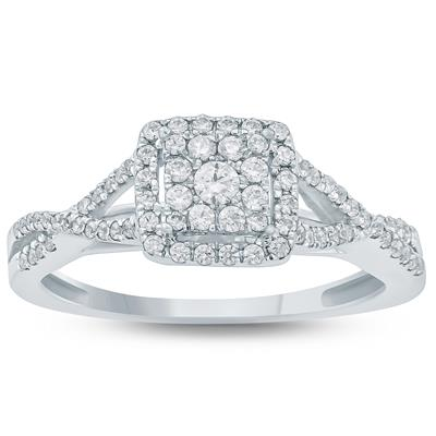 3/8 Carat TW Diamond Engagement Ring in 10k White Gold
