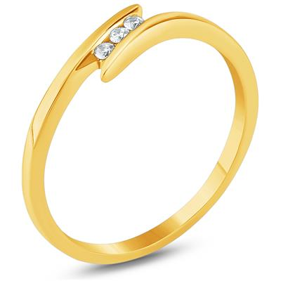 Three Stone Diamond Ring in 10K Yellow Gold