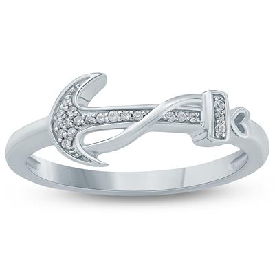 Diamond Accent Anchor Ring in 10K White Gold