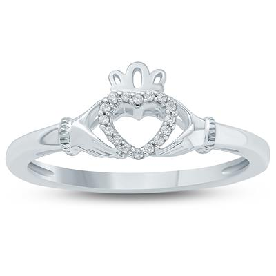 Diamond Claddagh Ring in 10K White Gold