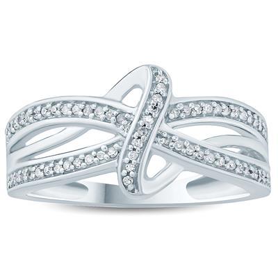 1/5 Carat TW Diamond Knot Ring in 10K White Gold