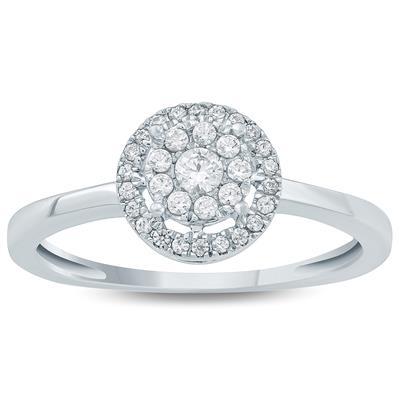 1/4  Carat TW  Diamond Fashion Ring 10K White  Gold